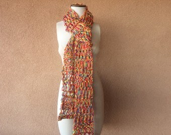 Extra Long Scarf Accessories Gift Women Ready to Ship Gift for Her Friend Gift Cheer-Up Gift for Best Friend Pure Cotton Scarf Knit Cotton