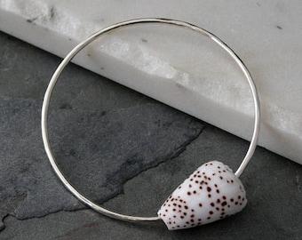 On Sale 50% Off Sterling Silver Bangle Hawaiian Jewelry Flea Cone Shell Sea Shell, Hammered Sterling Silver Bracelet Resort Wear Hawaii Summ