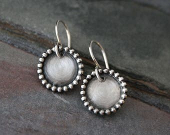 Wayfarer Earrings Sterling Silver Dangle Drop Round Earring French Ear Wires Circle Granulation Eternity Full Moon Disk Handmade Jewelry