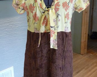 Upcycled Dress, Recycled Clothing, Handmade Dress, Pullover Dress, Unique Clothing, Refashion Clothing, Embroidery, Yellow Brown Dress, Cute