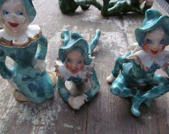 3 little green pixie guys, vintage, 50s-60s, occupied Japan