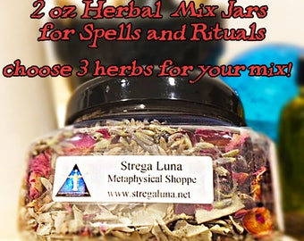2 oz Herbal Spell Mix Jars -Choose 3 Herbs! Wiccan herbs for spells, witchcraft kits, spell kits, wiccan spells, pagan, spells that work