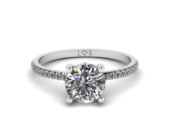 """Diamond Engagement Ring Semi Mount - 6.5mm Round """"Lola"""" Solitaire Ring by Laurie Sarah - add the center stone of your dreams - LS5130"""