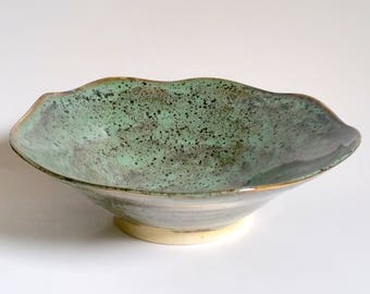 Green and Black Bowl - Serving Bowl - Asymmetrical and Flared Bowl - Wheel Thrown Pottery