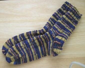HAND KNIT SOCKS Adult Wool Gold/Purple Stripes