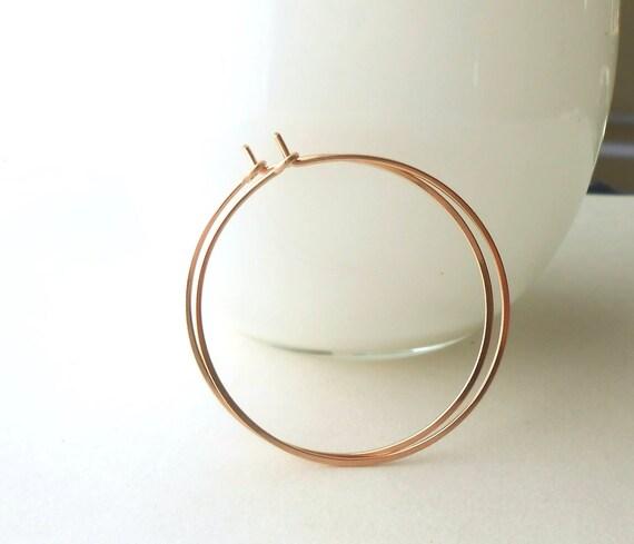 """Rose Gold Hoop Earrings, Medium Gold Filled 1.5"""" Hoops, Everyday Jewelry"""