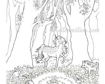 The Gathering Unicorn Dragon Fairy Glade Digi Stamp Digital Coloring Page for adults - for scrapbooking or cards or coloring