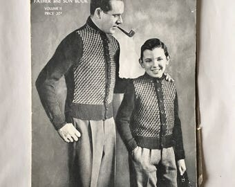 Vintage Knitting Patterns Book, Peter Pan Father and Son Book University Sweaters