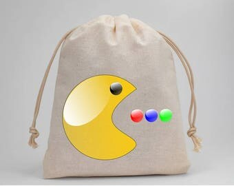 Pacman, Birthday Party, Party Bags, Muslin Bags, Candy Bags, Treat Bags, Favor Bags, Goodie Bags, Gift Bags, 5x7