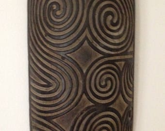 New Guinea Warrior Shield, Balinese reproduction, Hand-carved Wood