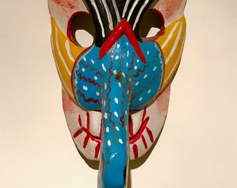 Hand Carved Folk Art BIRD MASK from Mexico
