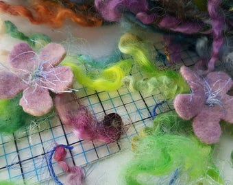 Art yarn handspun Pretty In Pink with felted flowers SALE buy 3 get 1 free 2.9 oz. wool and locks tailspun