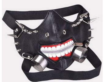 Leather spiked cyber gimp mask