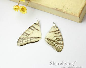 4pcs Handmade Real Butterfly Wing Charm / Pendant, Cover Resin with Silver Bail, Perfect for Earring / Necklace - RW001K