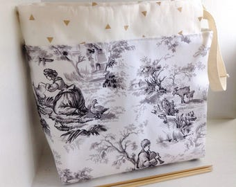 Toile Project bag for knitting, Drawstring bag, Knitting supplies, Knitting storage bag, Knitting holder, Small project bag