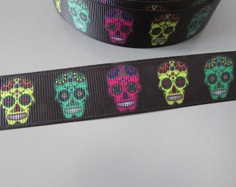 Black Sugar Skulls Day of the Dead Calaveras Grosgrain Ribbon x 1 metre