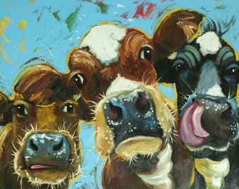 Cows painting animals 525  30x40 inch original portrait oil painting by Roz