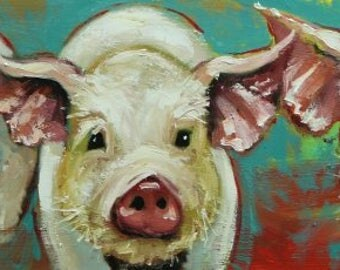 Pigs painting 25 12x36 inch original oil painting by Roz
