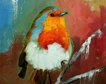 Bird painting 286 Robin 12x12 inch portrait original oil painting by Roz
