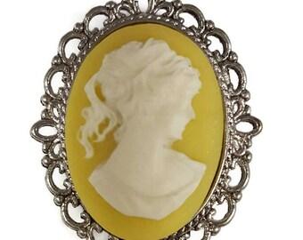 Yellow Lady Cameo Pin