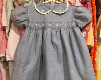 1950s Smocked Dress 12/18 Months