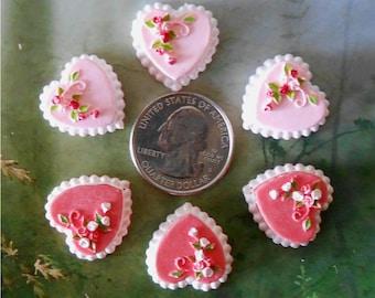 Set of 3,Miniature Cakes, Miniature Heart Cake~Valentines Cake, Pink Floral Cake, Dollhouse Miniature Cake