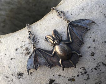 Silver Bat Necklace~Gothic Jewelry~Victorian Style~Gothic Necklace~large bat necklace~silver plated brass~silver plated chain~