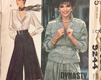 Vintage  Misses' Shirt Culottes and Belt Sewing Pattern McCall's 9244 Size 10 Bust 32 inches Uncut  Complete