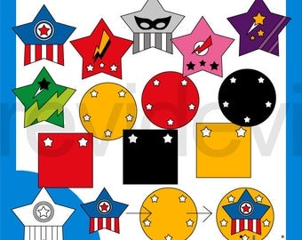 Superhero Stars Mix and Match Clipart - Superhero clip art - digital download, commercial use - graphic design by Revidevi