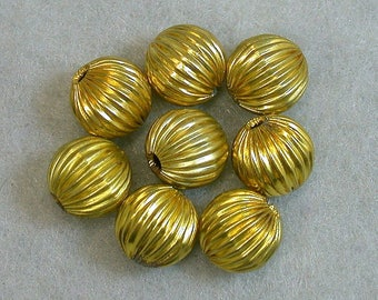 Vintage Metal Beads New Old Stock RIBBED BRASS Gold PLATED 8mm pkg8 m74