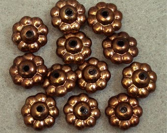 Vintage Lucite Beads COPPER ABACUS Ruffled 12mm pkg12 res407