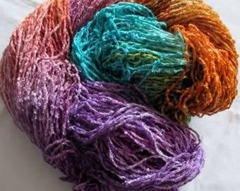 Handpainted Soft Rayon Chenille Yarn  TABITHA  -  360 yds