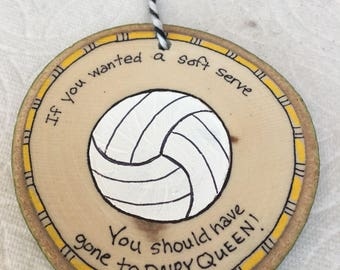 Volleyball Ornament Wood Slice