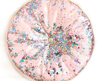 Confetti Throw Pillow with Tufting - Round Pink Confetti Filled Pillow