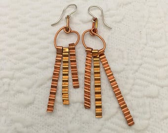 Silver, copper, and brass corrugated stick dangle earrings