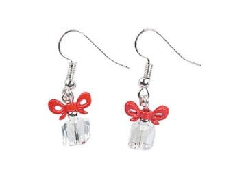 Red and Clear Christmas Present Earrings