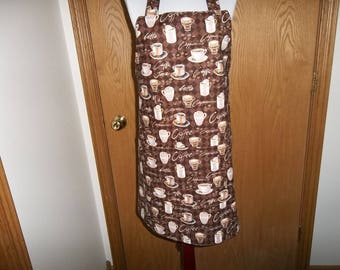 Coffee Apron, Women's Full Apron, Chefs Apron, Cooking Apron, Reversible Apron, Front Pocket, Adjustable Neck Strap, Handmade, Gift