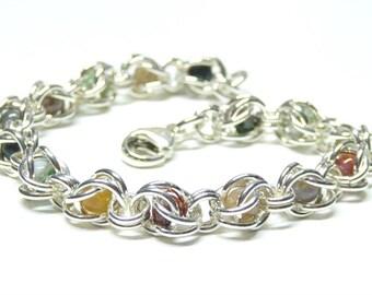 Sterling silver chain bracelet,925 sterling silver chainmail bracelet,fancy jasper bracelet,sterling silver chainmail byzantine bracelet