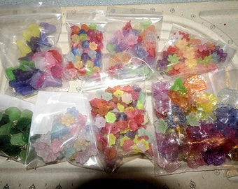 Assorted Plastic Flower Lot, Mixed Lot Different Sizes