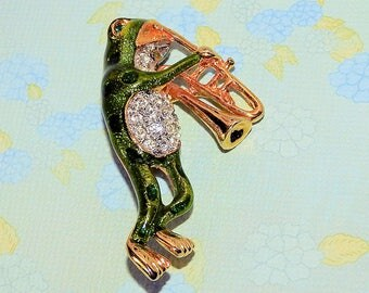 Trumpet Playing Frog Brooch or Pin, Rhinestone  and Green Musicle Frog