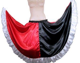 Harley Quinn Black Red Split Satin Ruffle Circle Skirt Adult Medium - MTCoffinz - Ready to Ship