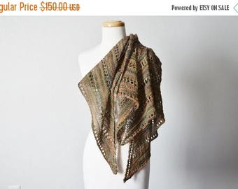 First Fall Sale - 15% Off Murky Spring Hand Knit Lace Triangle Scarf - Women's Fashion, Blanket Scarf. Soft Hand Dyed Superwash Wool