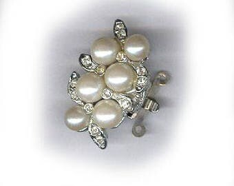 vintage clasp ART DECO clasp rhinestone clasp chunky three strand clasp necklace clasp glass pearl bridal finding