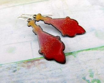 Moroccan earrings Red earrings dangle earrings Enamel jewelry gift for her
