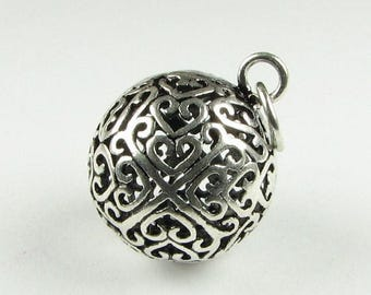 SHOP SALE Filigree Sphere Pendant Antiqued Bali Sterling Silver Round Ball Charm Pendant Focal Bead Jewelry Supplies Necklace Pendant (1 pie