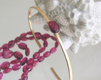 Pink Tourmaline Cuff, 14k Gold Filled Bracelet, Minimalist and Modern, Stackable Cuff, Magenta Rubellite Gemstone, Artisan Handmade