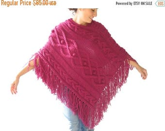 20% WINTER SALE Plus size - Pink Cable Knit Poncho by Afra