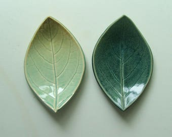 Ceramic Leaf Plates/ Spoon Rest, Set of Two