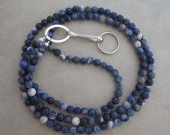 blue sodalite silver lanyard badge ID holder