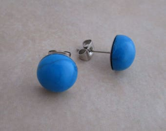 turquoise studs blue howlite earring posts 10mm